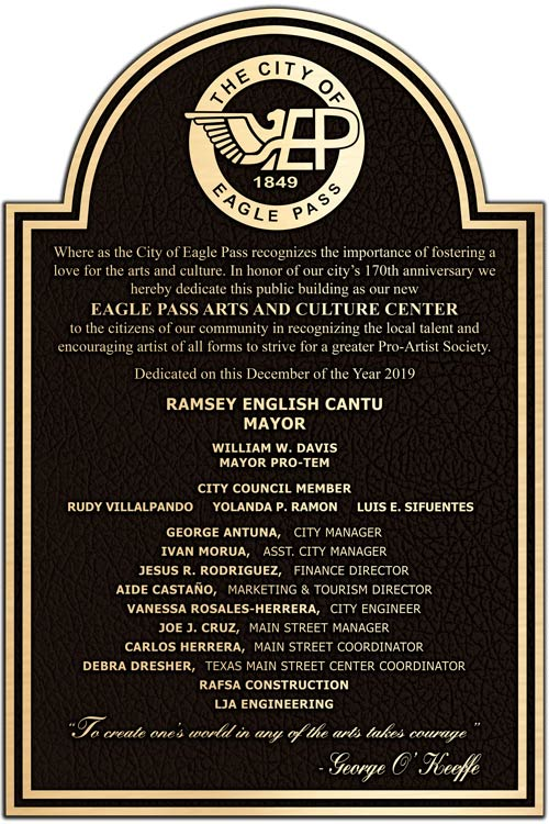 Arts and Culture Center Dedication Plaques