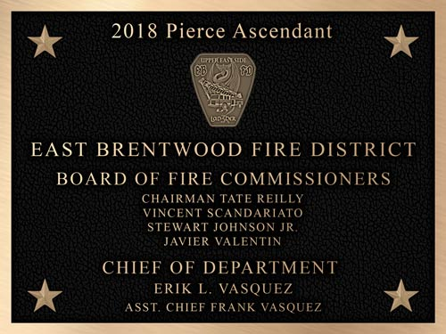 a dedication plaque used for a new Pierce Ascendant fire truck